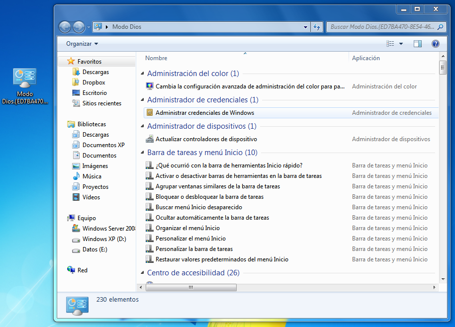 Modo 'Dios' en Windows 7 (God Mode)