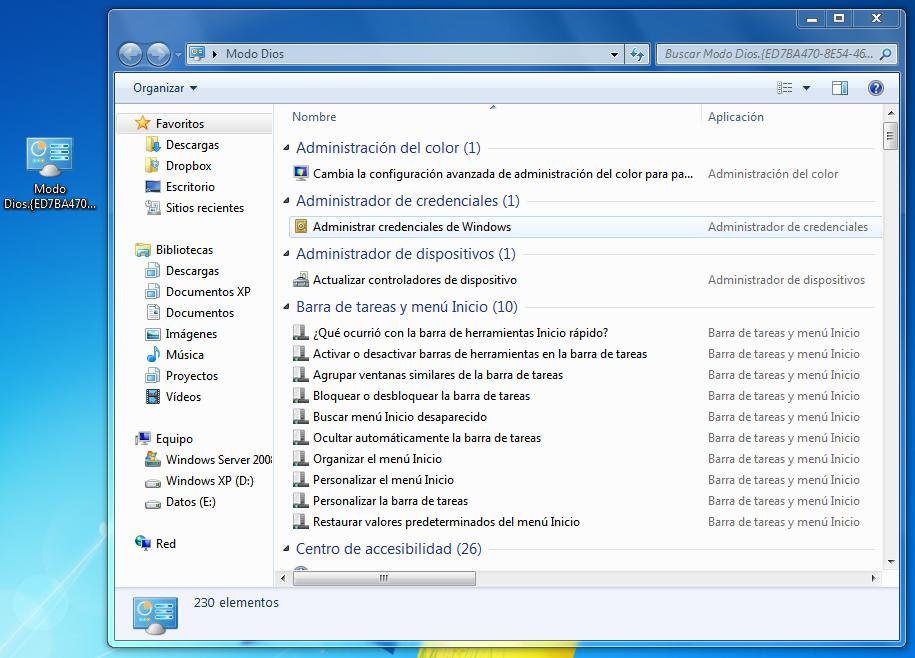 Modo 'Dios' en Windows 7 (God Mode)